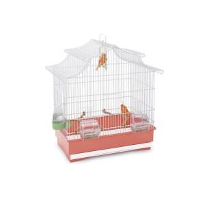 Jaula Pájaros PAGODA, Blanco-Rosa